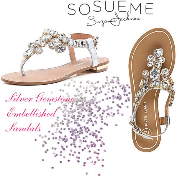 9df909d2f Silver Gem Stone Embellished Sandals