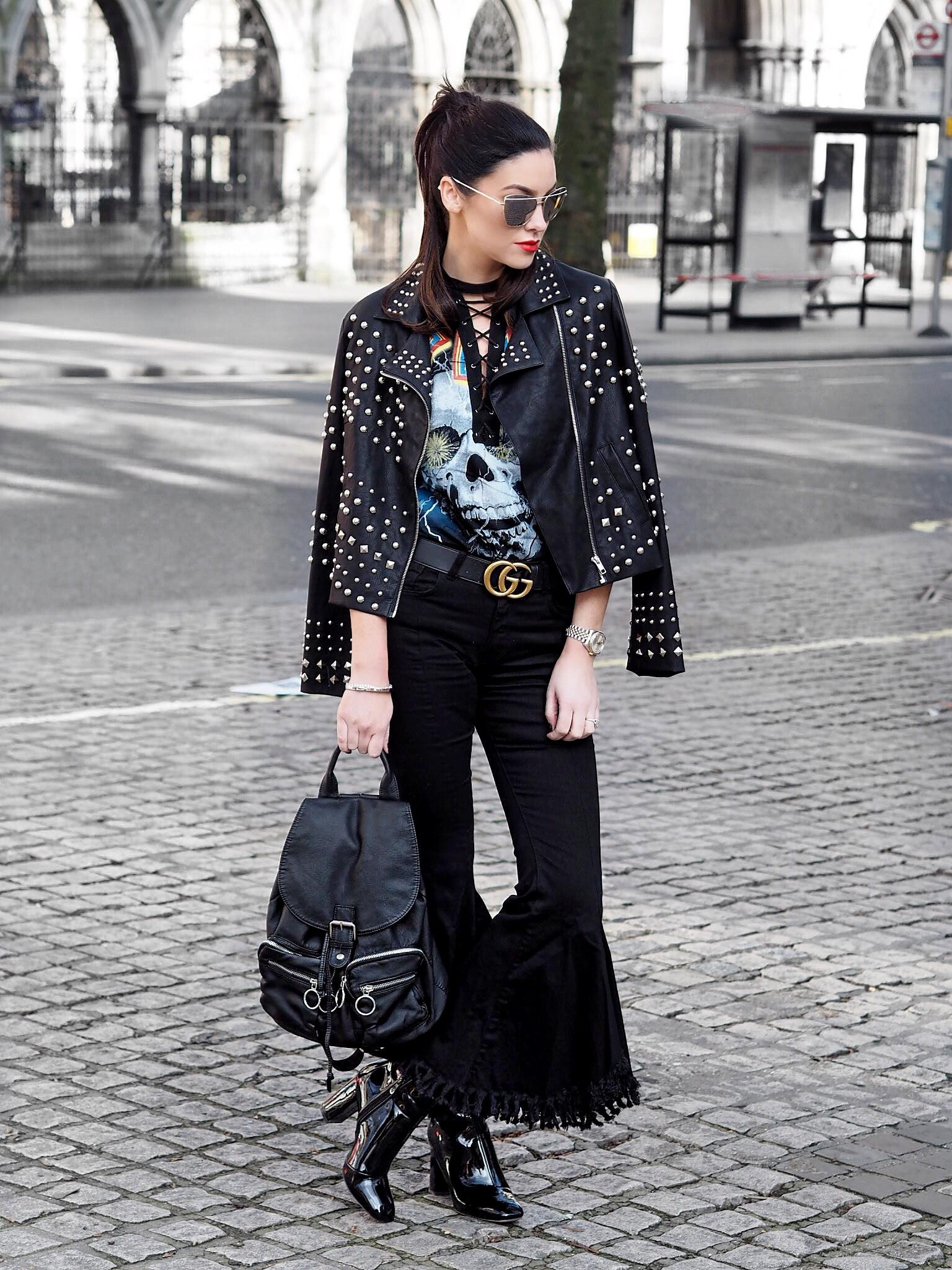 Suzanne Jackson Leather jacket London Fashion Week 1