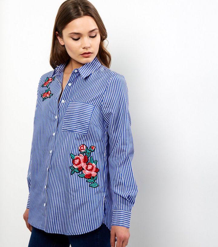 blue-stripe-rose-badge-shirt