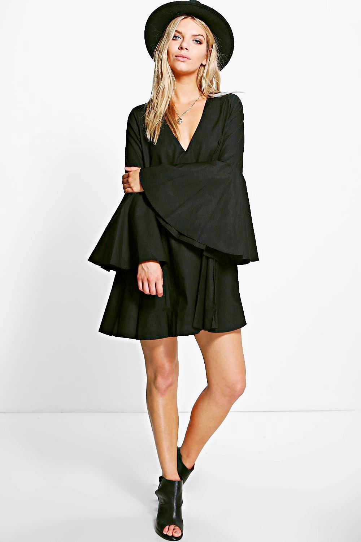 Flared Sleeve V Neck Shift Dress