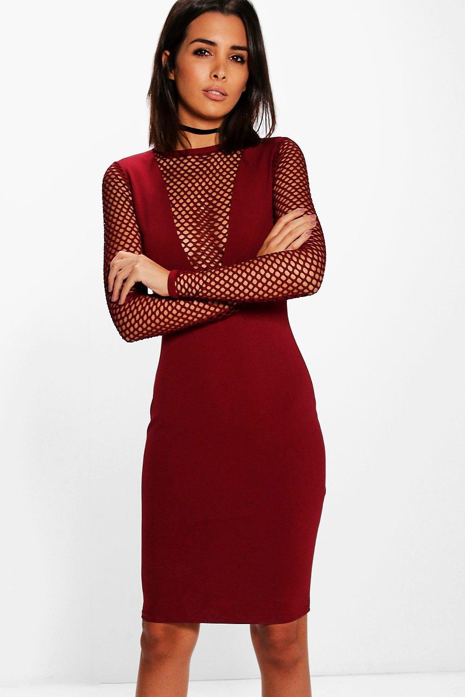 red fishnet dress