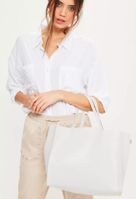 white croc bag