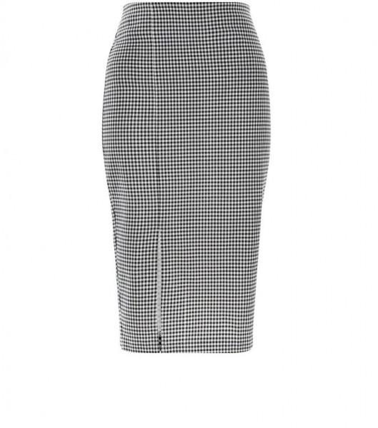 black-gingham-side-split-pencil-skirt