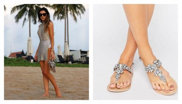 add5a39303cc76 Beach Sparkle! Rhinestone Flat Sandals